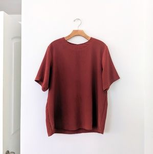 Vtg Rust Red Textured Short Sleeve Top Shirt M